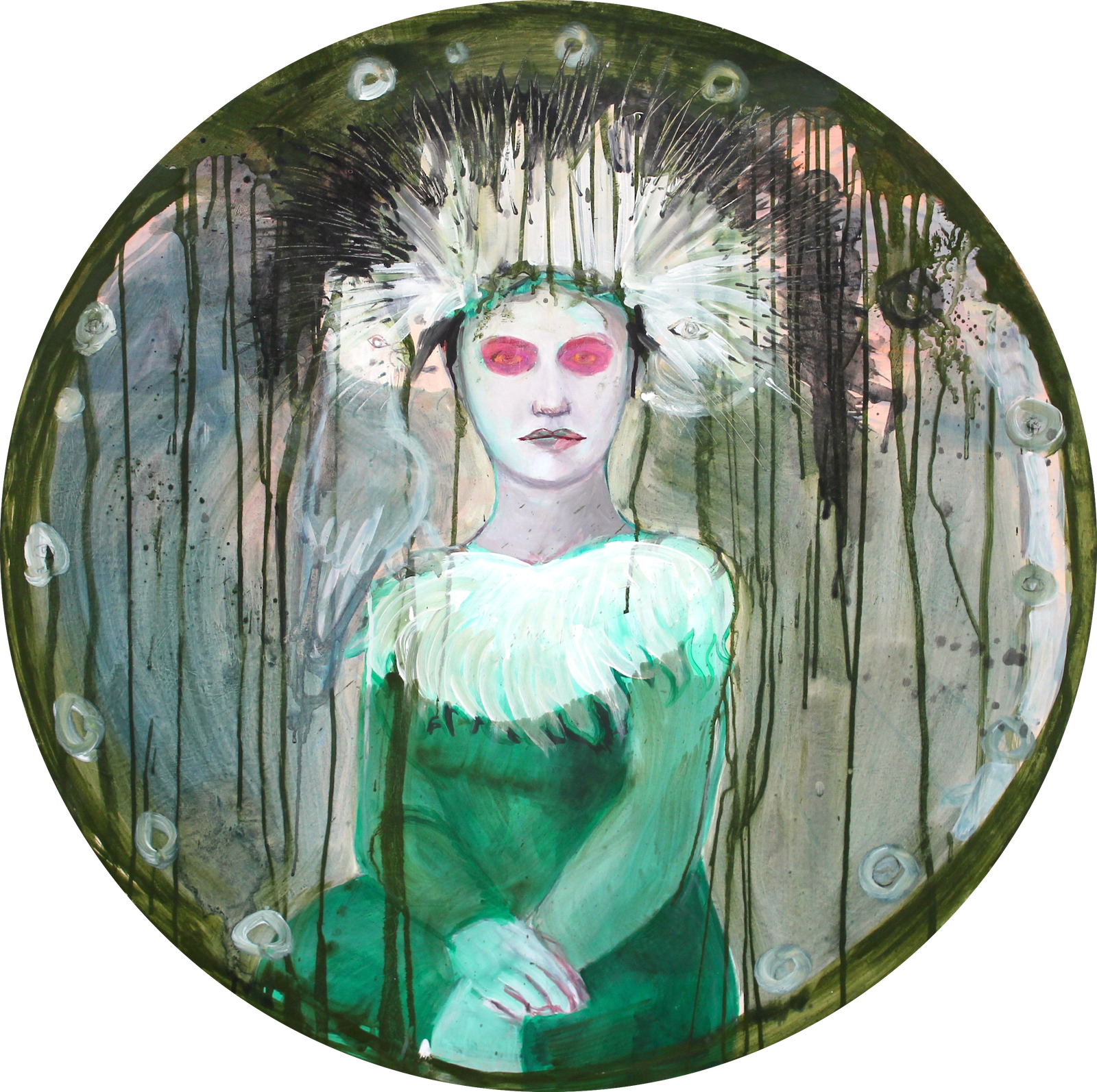 Ecce Draco: 2016 | Acryl & Eitempera auf Holz | Ø 88 cm